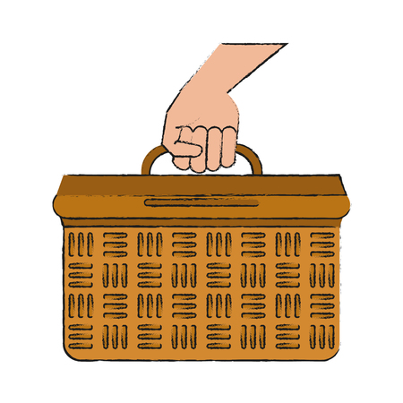 Hand with basket icon vector illustration graphic design
