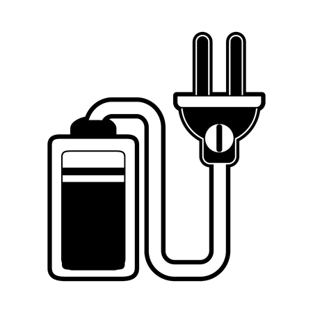 Battery with electric wire icon vector illustration graphic design