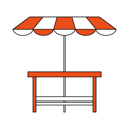 Wooden table patio umbrella icon vector illustration graphic design Illustration