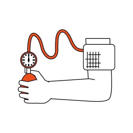 Tensiometer on arm icon vector illustration graphic design Stock Illustratie