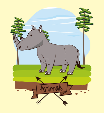 Cut rhino in the forest icon vector illustration graphic design
