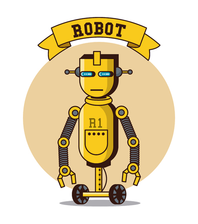 Robot funny cartoon icon vector illustration graphic design