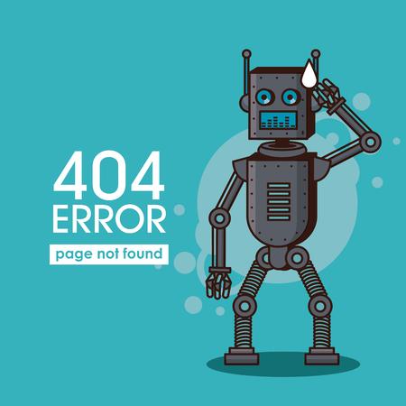 Error 404 robot style icon vector illustration graphic design