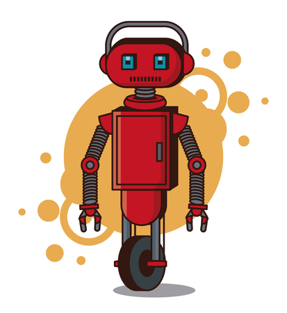 Funny robot cartoon icon illustration graphic design