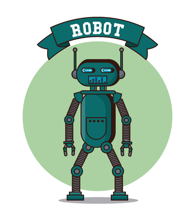 Robot funny cartoon icon illustration graphic design. Illustration