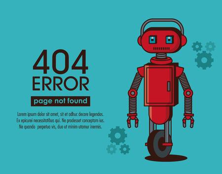 Error 404 robot style icon  illustration graphic design