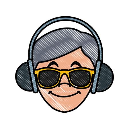 Man with music headphones icon vector illustration graphic design