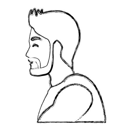Progettazione grafica dell'illustrazione di vettore dell'icona di profilo dell'uomo di forma fisica Archivio Fotografico - 93692451