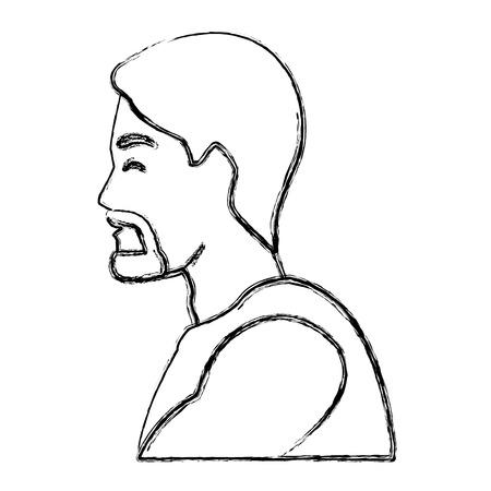 Progettazione grafica dell'illustrazione di vettore dell'icona di profilo dell'uomo di forma fisica Archivio Fotografico - 93692495