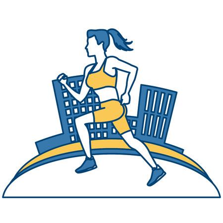 Woman running at city icon vector illustration graphic design Illustration