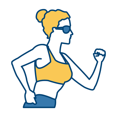 Illustration of a running woman.