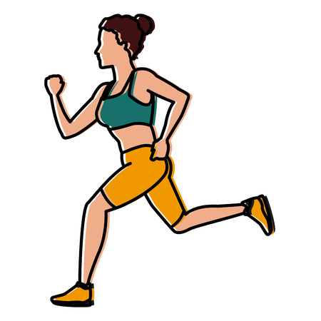 Fitness woman running icon vector illustration graphic design