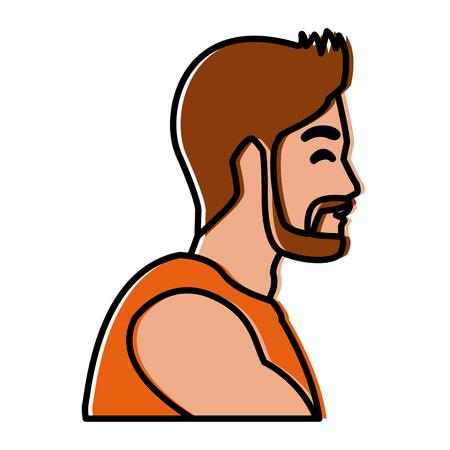 Progettazione grafica dell'illustrazione di vettore dell'icona di profilo dell'uomo di forma fisica Archivio Fotografico - 93841568
