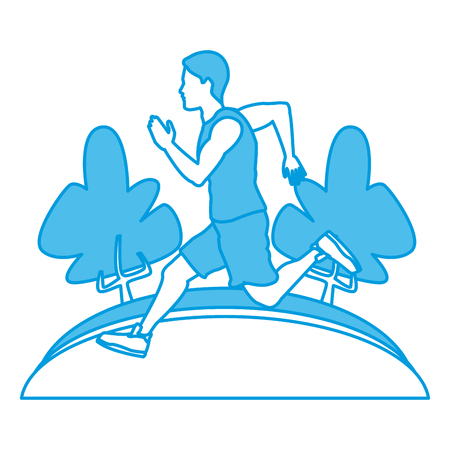 Man running at park icon vector illustration graphic design