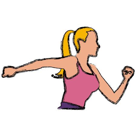 Fitness woman running icon vector illustration graphic design