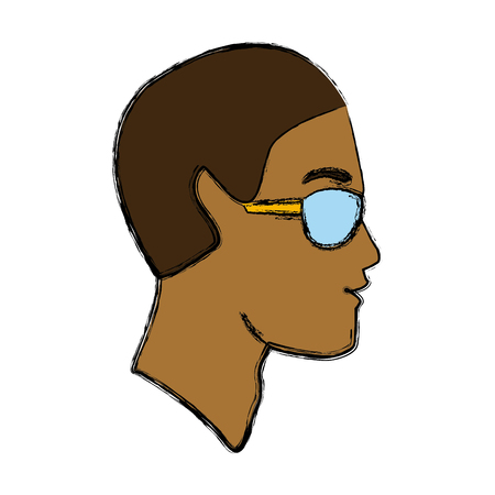 Man head with sunglasses icon vector illustration graphic design