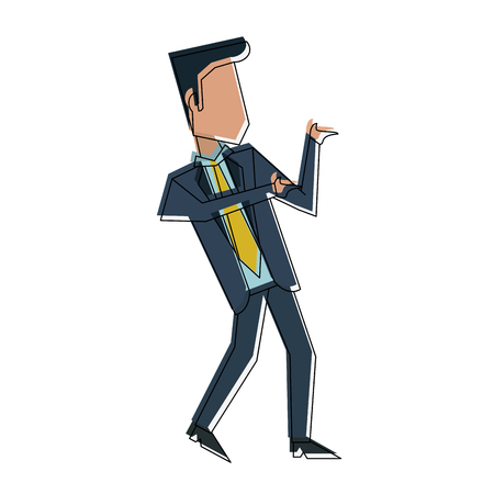 Businessman with winner pose icon vector illustration graphic design Illustration