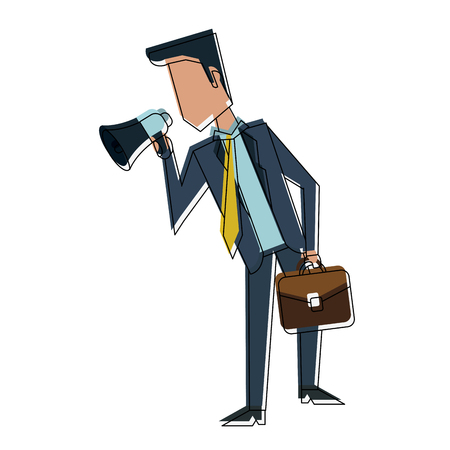 Businessman with bullhorn and briefcase icon vector illustration graphic design Illustration