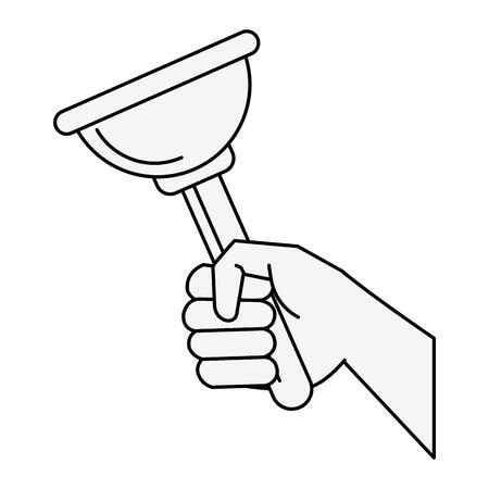 Hand with toilet pump icon vector illustration graphic design Illusztráció