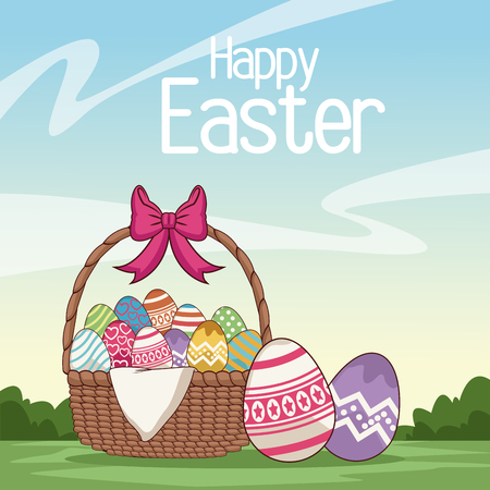 Happy easter card cartoon icon vector illustration graphic design Illustration