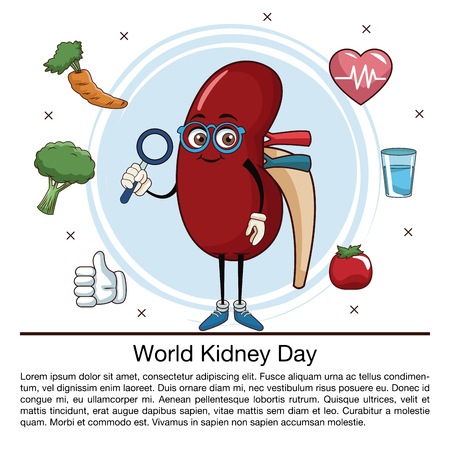 World kidney day infographic cartoon icon vector illustration graphic design Illustration