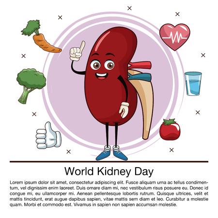 World kidney day info-graphic cartoon icon. Vector illustration graphic design.