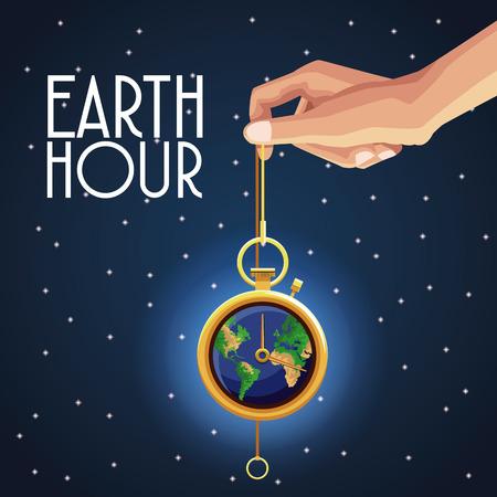 Earth Hour Design Symbol Vektor-Illustration Grafik Standard-Bild - 93736543