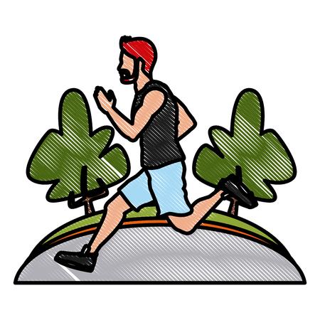 Man running at park icon vector illustration graphic design