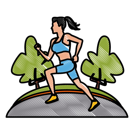 Woman running at park icon vector illustration graphic design