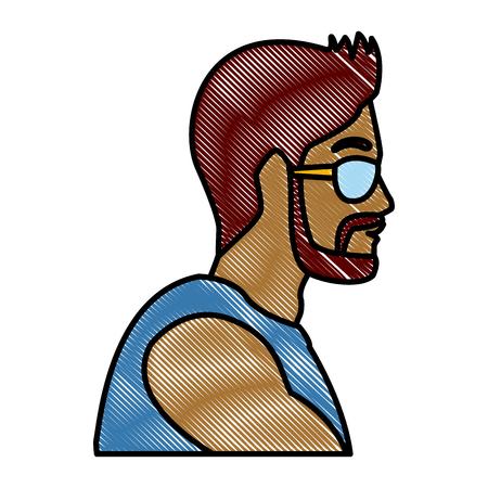 Man head with sunglasses icon vector illustration graphic design