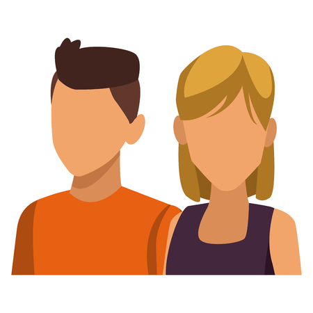 Young couple avatar icon vector illustration graphic design