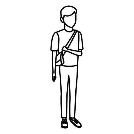 Young man student cartoon icon vector illustration graphic design.