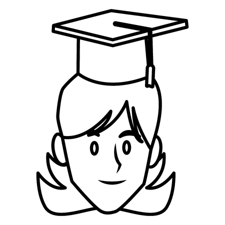 Student woman with graduation hat icon. Vector illustration graphic design.
