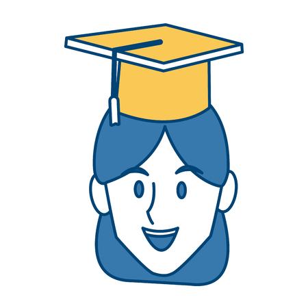 Student woman with graduation hat icon vector illustration graphic design Illustration