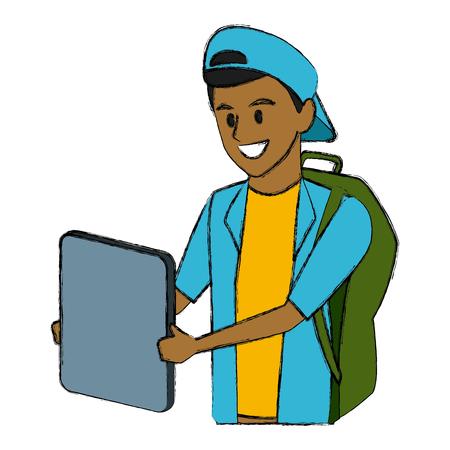 Young man student cartoon icon vector illustration graphic design Illustration