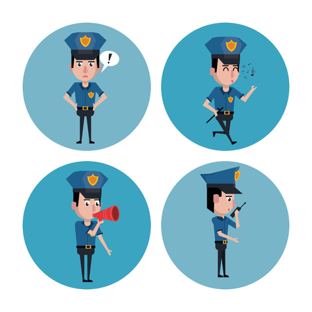 Police officer icons cartoon icon vector illustration graphic.