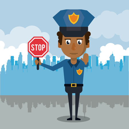 Policeman at the city cartoon icon vector illustration graphic. Çizim