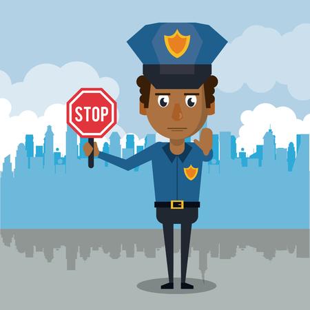 Polizist an der Stadtkarikaturikonenvektor-Illustrationsgraphik.