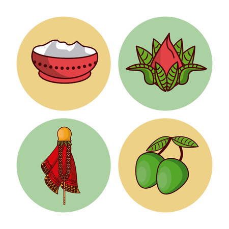 Happy Ugadi icons vector illustration graphic design. Illustration