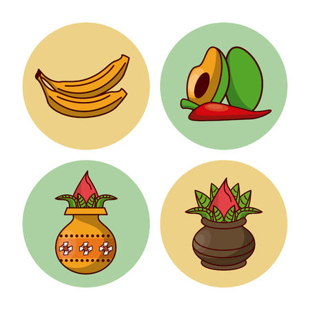 Happy Ugadi icons icon vector illustration graphic design.