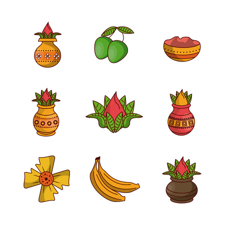 Happy ugadi icons icon vector illustration graphic design