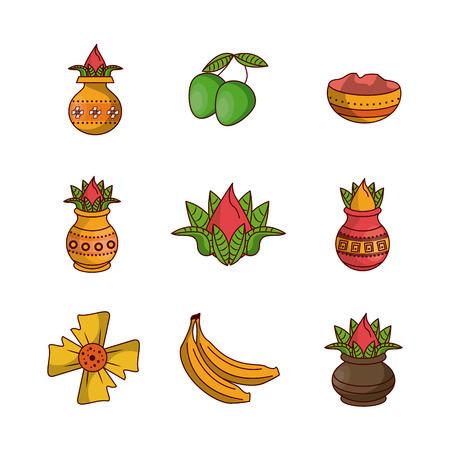 Happy ugadi icons icon vector illustration graphic design