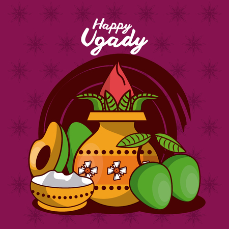 Happy ugadi design icon vector illustration graphic design Illustration
