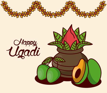 Happy ugadi design icon vector illustration graphic design Illustration