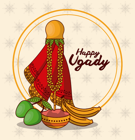 Happy ugadi design icon vector illustration graphic design Ilustracja