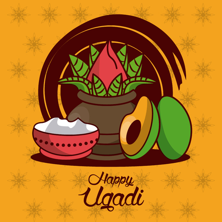 Happy Ugadi design icon vector illustration graphic design. Illustration