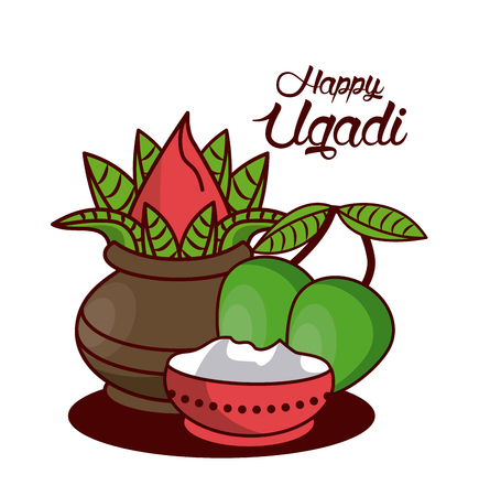Happy Ugadi design icon vector illustration graphic design. Illustration