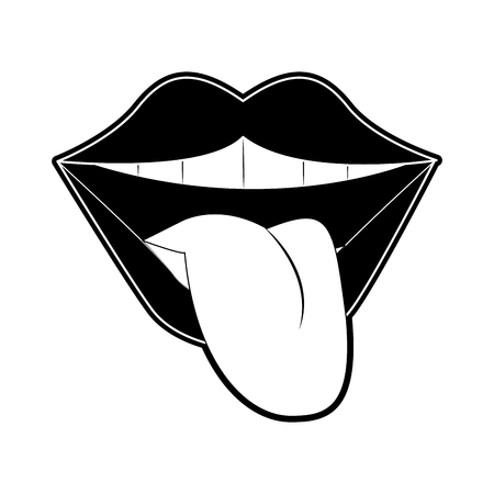 Tongue out pop art icon vector illustration graphic design Vectores