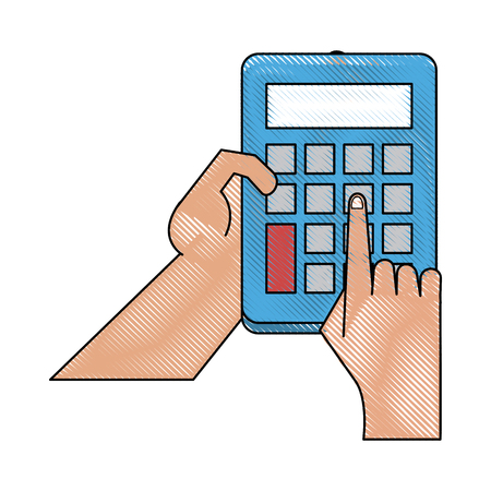 Hand with calculator icon vector illustration graphic design