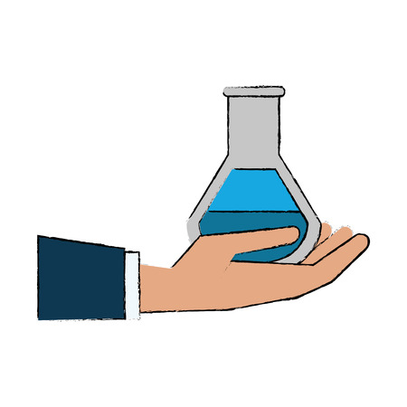 Hand with chemistry flask icon vector illustration graphic design